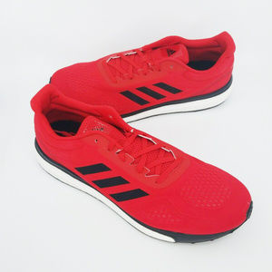 Adidas Mens Boost Red Black Lace Up Running Shoes